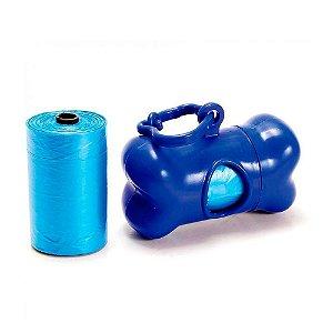 Kit Porta Saquinhos Coletores Dois Rolos Pet Thing Azul