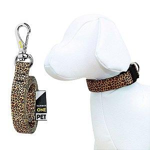 Coleira e Guia Para Cachorro Number One Leopard