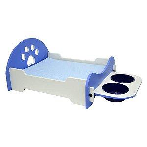 Cama Para Cachorro São Pet Com Comedouro Azul
