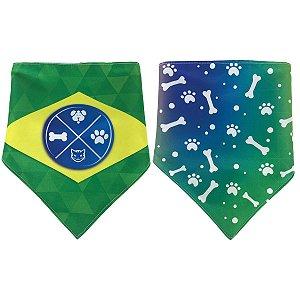 Bandana Para Cachorro Dupla Face Mania Dog Vamos Brasil