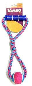 Brinquedo Para Cachorro Corda de Puxar Com Bola de Tênis