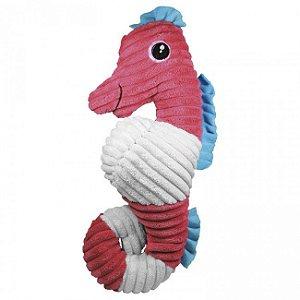 Brinquedo Para Cachorro Mordedor Pelúcia Cavalo Marinho Rosa