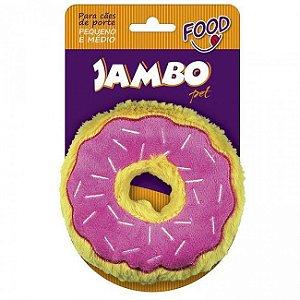 Brinquedo Para Cachorro Mordedor Pelúcia Food Donut Morango Pequeno