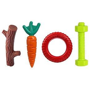 Kit Brinquedo Buddy Toys Graveto, Cenoura, Pneu e Parafuso Nylon