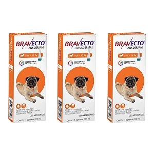 Combo 3 Antipulgas Bravecto 4,5 a 10kg Transdermal Cães