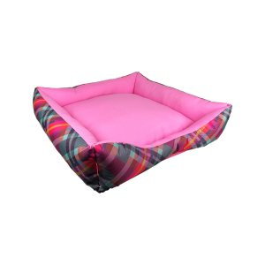 Cama Para Cachorro Safira Rosa Xadrez G 70 x 70 x 19cm