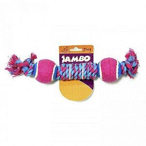 Brinquedo Para Cachorro Corda Twisted Com 2 Bolas Tênis