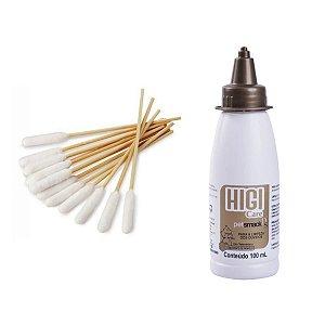 Kit Limpeza Ouvido Cachorro Higicare e Cotonete Bamboo Stick