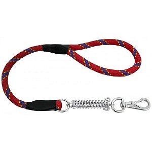 Guia Para Cachorros que Puxam Muito Alça de Corda e Mola Vermelha