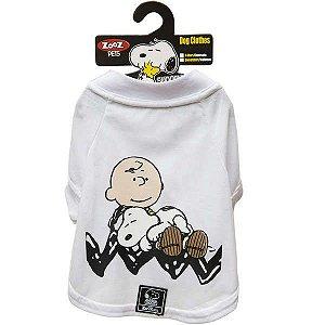 Roupa Cachorro Camiseta Branca Charlie Snoopy Sleeping