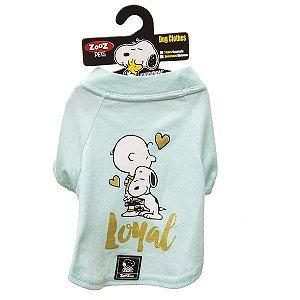 Roupa Cachorro Camiseta Verde Charlie Snoopy Loyal