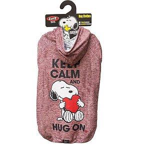 Roupa Cachorro Moletom Snoopy Keep Calm Hug On