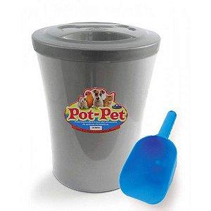 Porta Ração Contêiner Com Concha Prata Pot Pet 5 kg