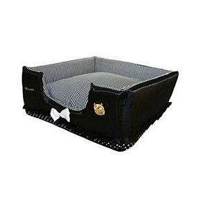 Cama Cachorro Luxo Preta P 48 x 48 x 18cm