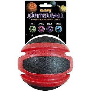 Brinquedo Para Cachorro Bola Júpiter Mega Preto e Vermelho Jambo