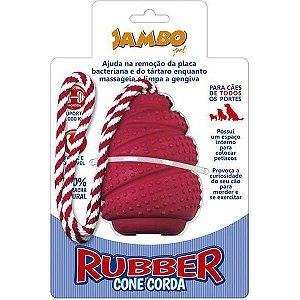 Brinquedo Para Cachorro Rubber Cone Com Corda Grande Vermelho Jambo