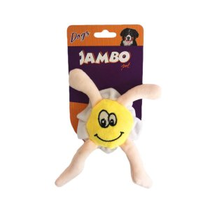 Brinquedo Para Cachorro Mordedor Pelúcia Perninha Ovo Amarelo Jambo