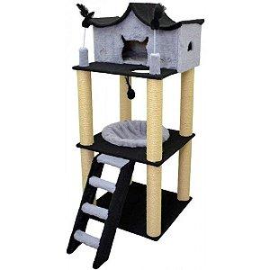 Arranhador Para Gato Médio Fortaleza São Pet Cinza 60x60x147cm