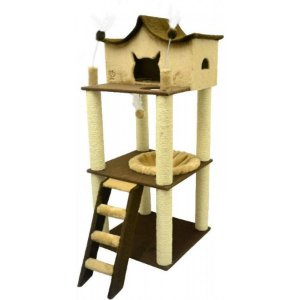 Arranhador Para Gato Médio Fortaleza São Pet Bege 60x60x147cm