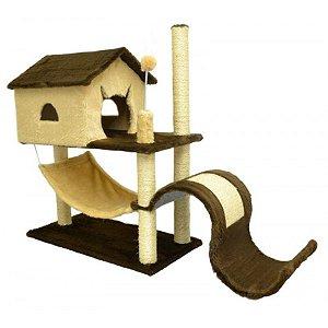 Arranhador Para Gatos House Toboga São Pet Bege 115x44x88cm