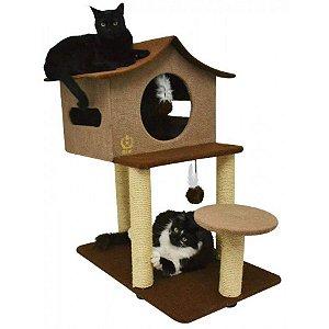 Arranhador Para Gatos Casa de Cuco São Pet Bege 78x60x85cm