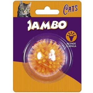 Brinquedo Para Gato Bola Luz Espinho Mini Laranja Jambo
