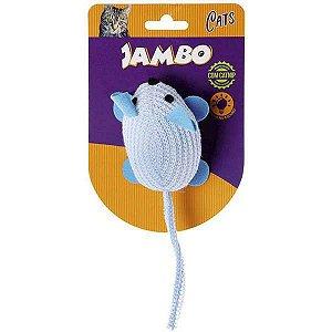 Brinquedo Para Gato Pelúcia Rato Brilhante Azul Jambo