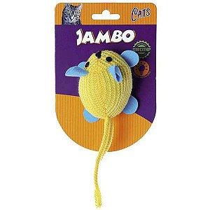 Brinquedo Para Gato Pelúcia Rato Brilhante Amarelo Jambo