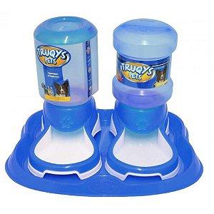 Bebedouro e Comedouro Automático Truqys Pet Azul 2L