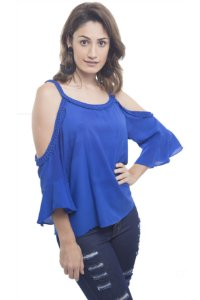 Blusa Ombro À Mostra Azul