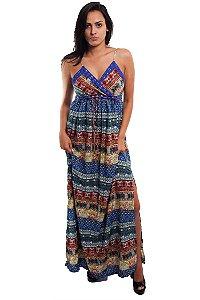 Vestido Longo Azul Indiano