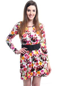 Vestido Manga Comprida Floral