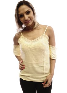 Blusa Renda Ombros Vazados Amarela