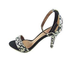 Sandália Com Salto Alto Lelas's - Preto com Detalhes em Branco