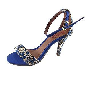 Sandália Com Salto Alto Lelas's - Azul com Detalhes