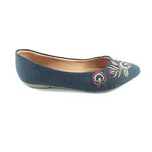 Sapatilha Jeans Escura com Flores Desenhadas