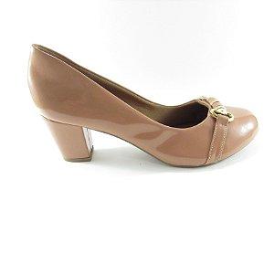 Sapato Boneca Salto Médio - Nude Envernizado