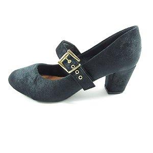 Sapato Boneca Salto Médio Veludo - Preto
