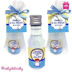 Lembrancinha Batizado Mini Água Benta 50 ml Plus com Terço