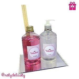 Kit Maternidade Especial Aromatizador e Álcool gel 500 ml Personalizado + Bandeja