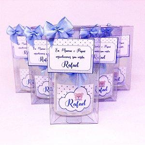 Lembrancinhas Maternidade - Mini álcool gel 40 ml classic na caixinha de acetato