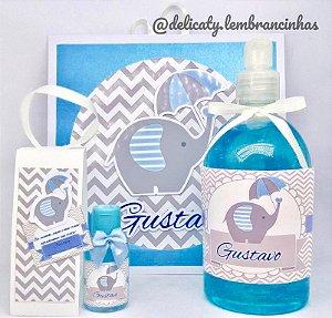 Kit Maternidade 3 - Mini álcool gel 30 ml classic na sacolinha scrap + Álcool gel 500 ml + Placa Maternidade