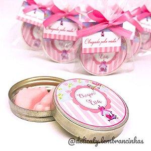 Lembrancinhas Chá de Bebê - Latinha com pezinho perfumado classic