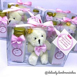 Lembrancinha Maternidade - Kit dupla 40 ml e chaveiro ursinho