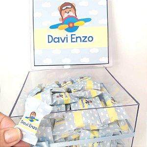 Lembrancinha Maternidade - Caixa Acrilico com 100 balas Personalizadas