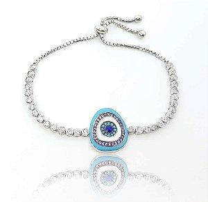 Pulseira ajustável prata oval com zircônia lilás e turquesa