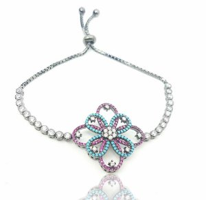 Pulseira ajustável prata flor de lótus com zircônia