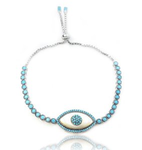 Pulseira ajustável elipse olho grego prata com zircônia