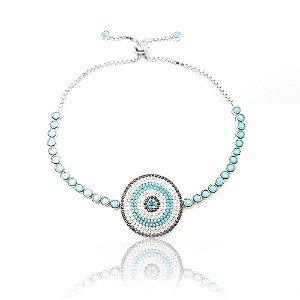 Pulseira ajustável redonda círculos prata com zircônia