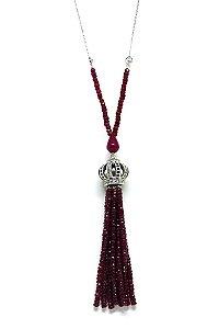 Colar de prata com pedras naturais rubi, safira e esmeralda